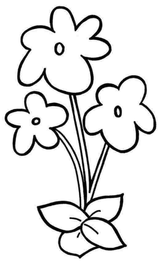 Easy Violet Flowers Coloring Page