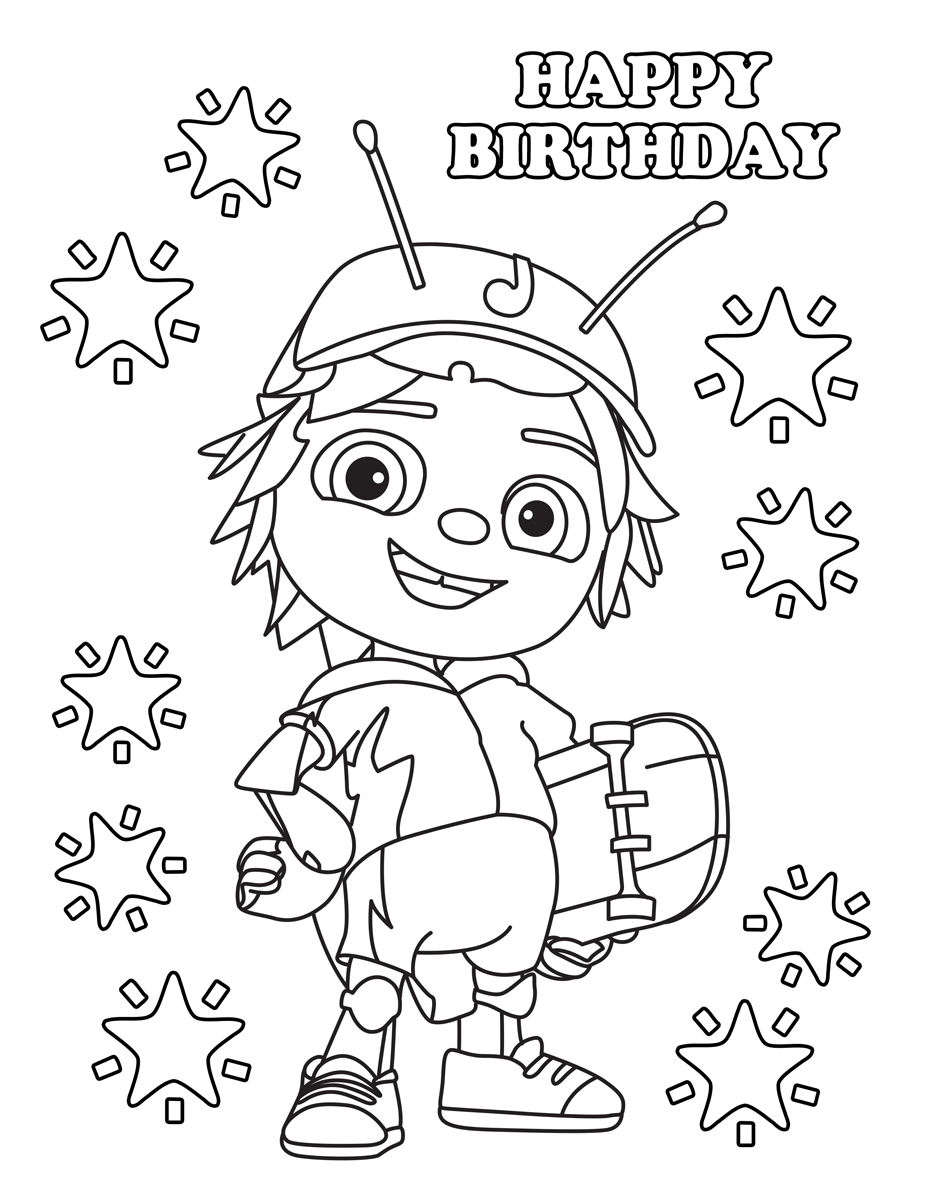 Happy Birthday Jay Beat Bugs Coloring Pages
