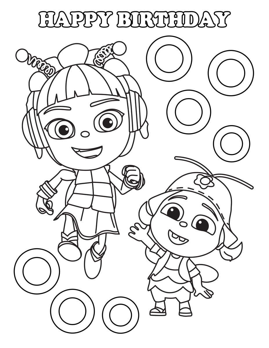 Happy Birthday Kumi Beat Bugs Coloring Pages