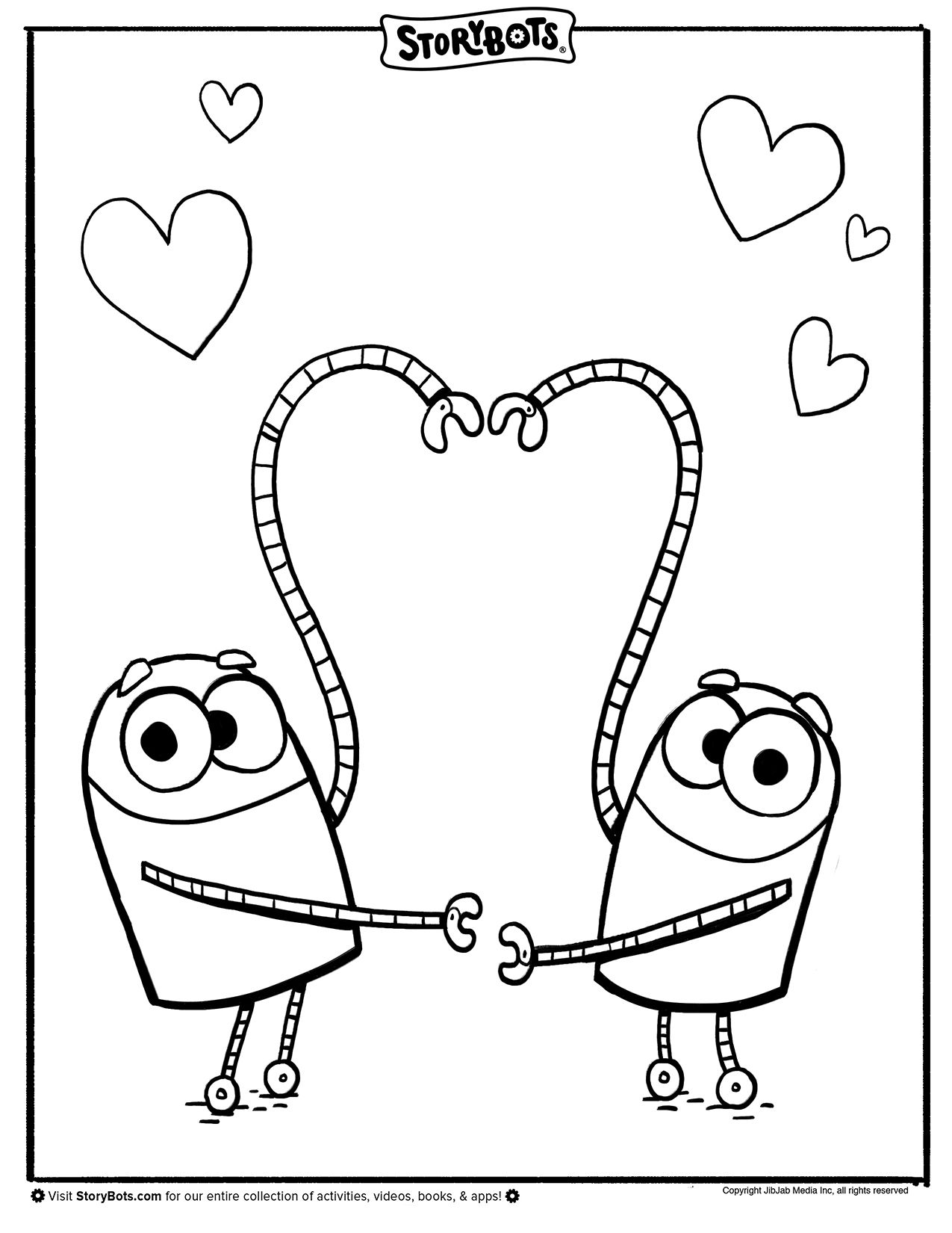 Heart Storybots Coloring Page