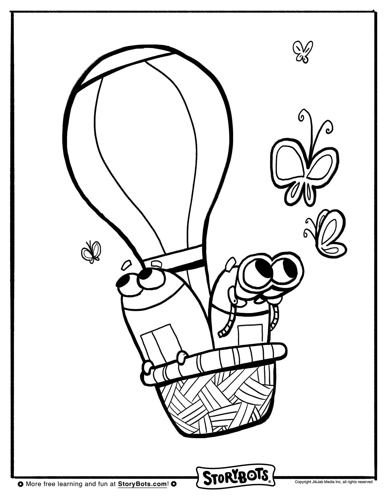Hot Air Balloon Storybots Coloring Page