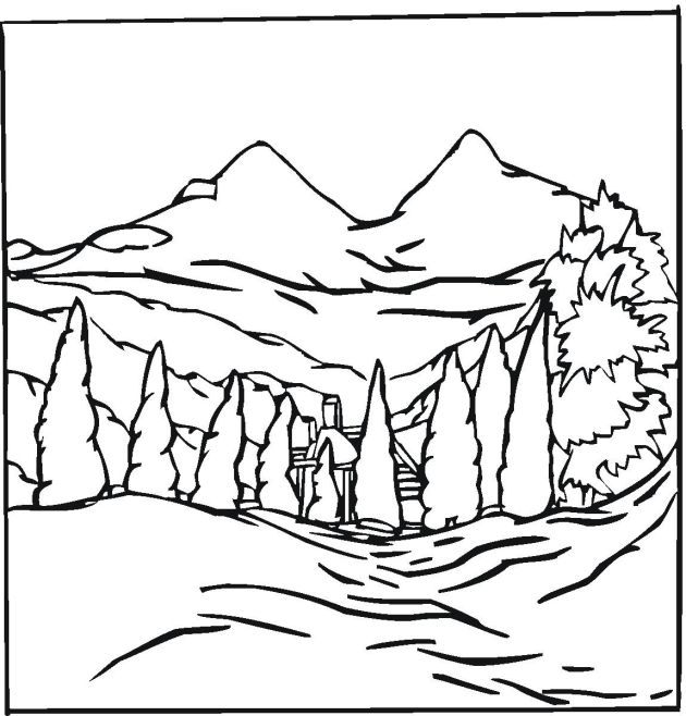 House In The Mountains Landscape Coloring Pages