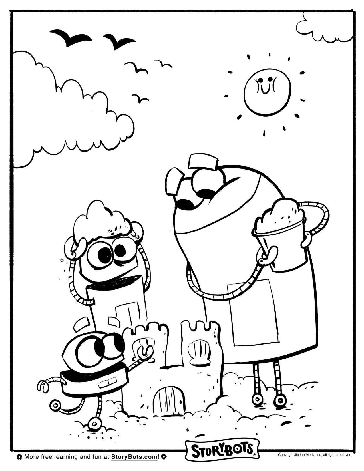 Sand Castle Storybots Coloring Pages