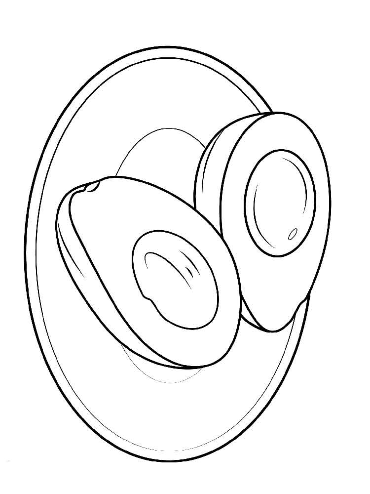 Sliced Avocado Coloring Pages