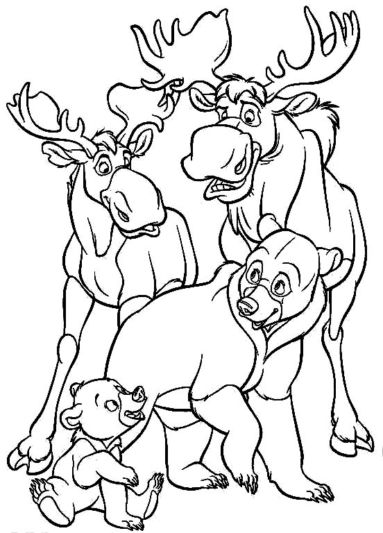 Brother Bear And The Moose Coloring Page