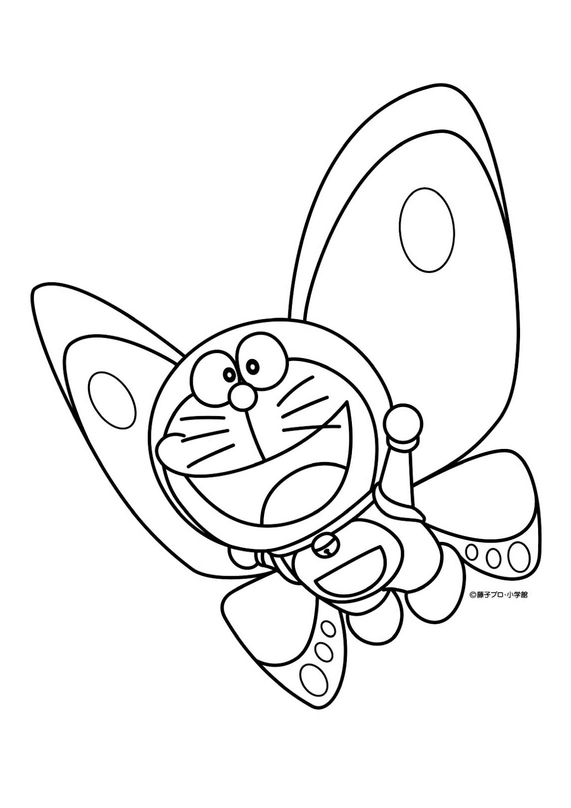 Butterfly Doraemon Coloring Page