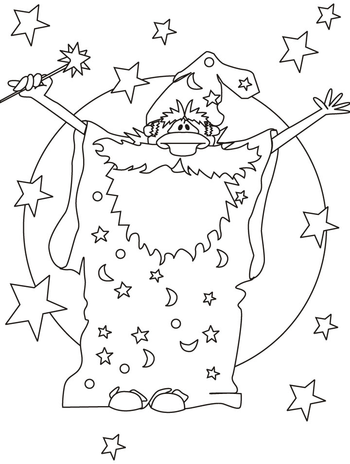 Cut Magic Wizard Coloring Page