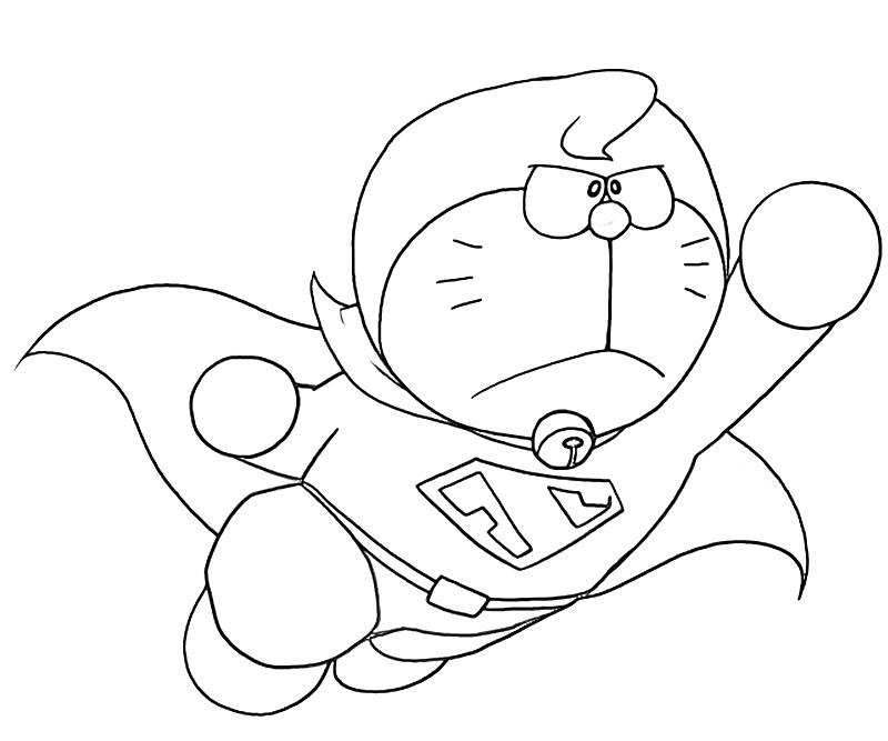 Flying Doraemon Superhero Coloring Page