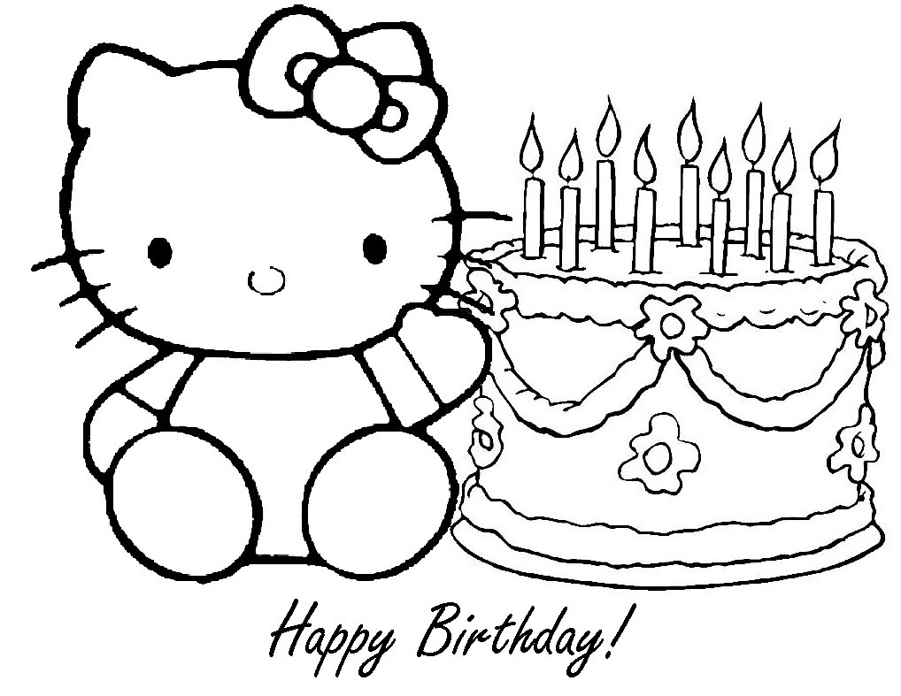 Happy Birthday Hello Kitty Coloring Pages