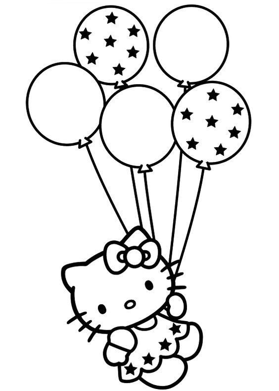 Hello Kitty Birthday Balloons Coloring Page