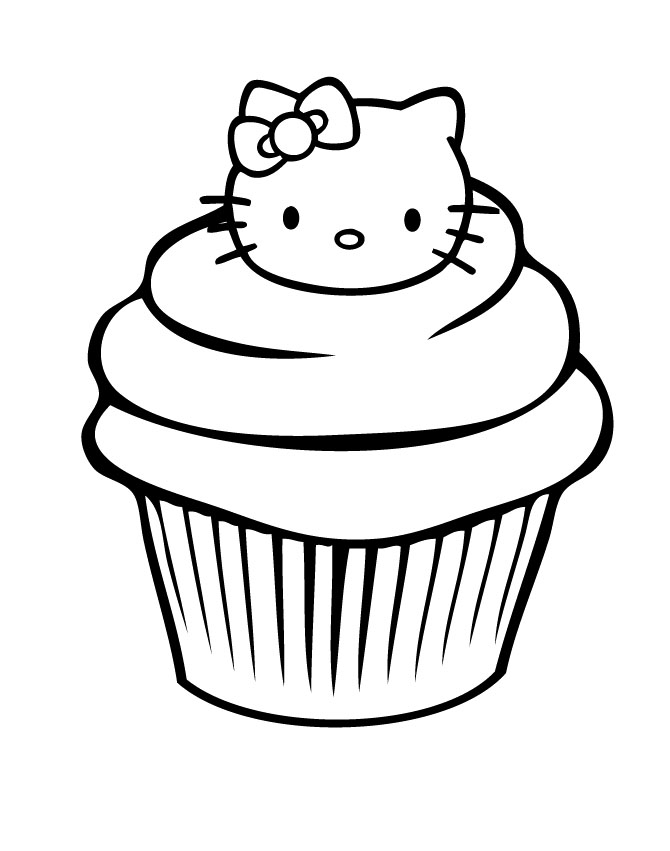 Hello Kitty Birthday Cupcake Coloring Pages