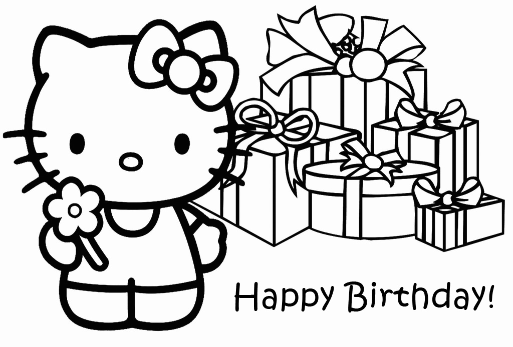 Hello Kitty Birthday Presents Coloring Page