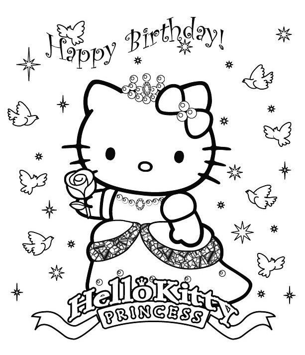 Hello Kitty Birthday Princess Coloring Pages