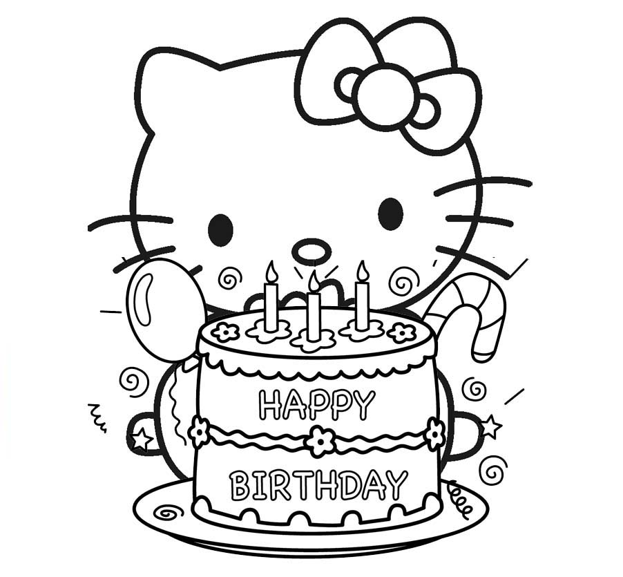Hello Kitty Happy Birthday Cake Coloring Page