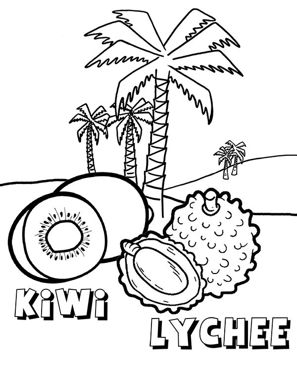 Kiwi Lychee Coloring Page