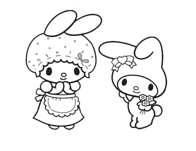 Mama & My Melody Coloring Page