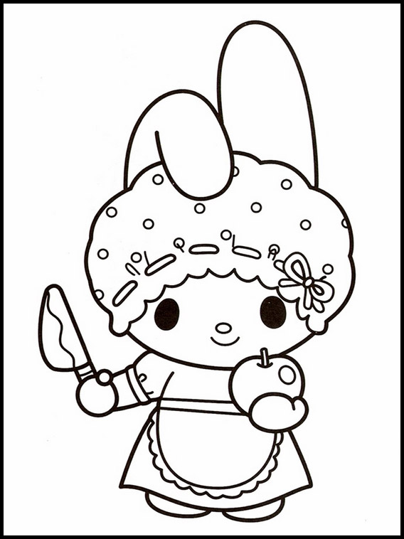 My Melody And Apple Coloring Pages