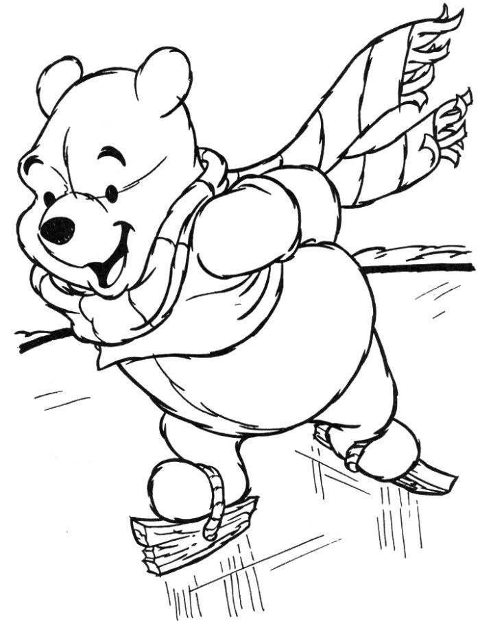 Pooh Skating In Winter Season Coloring Pages