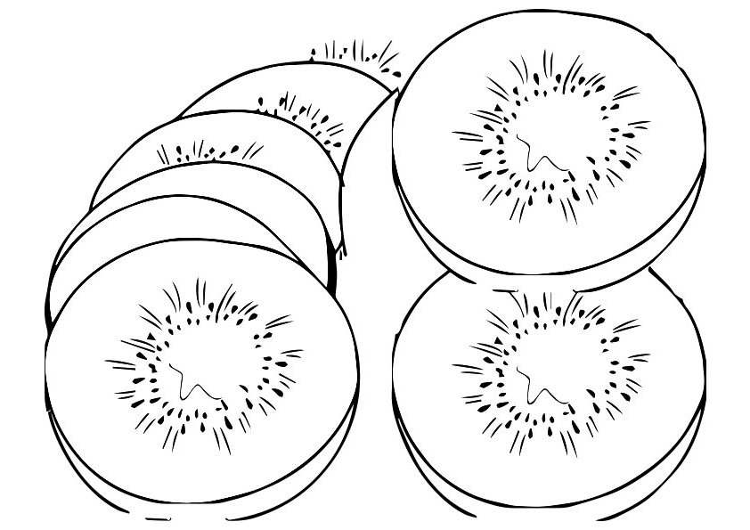 Sliced Kiwi Coloring Pages
