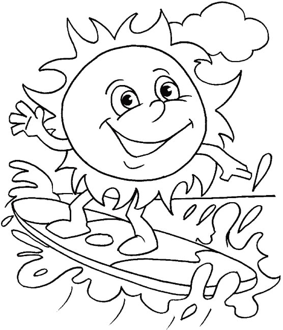 Sun Surfing Coloring Page