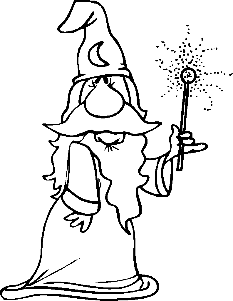 Wizard With Magic Wand Coloring Page