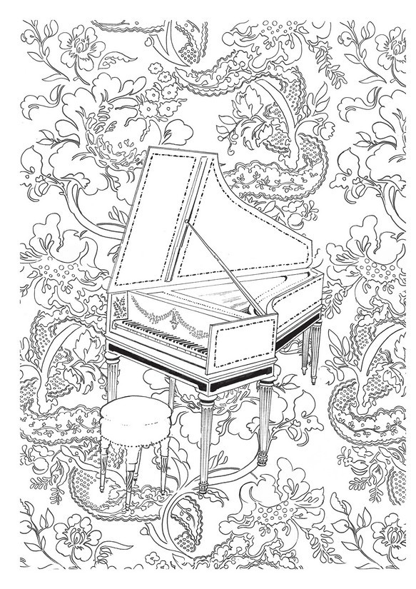 Beatiful Piano Coloring Pages