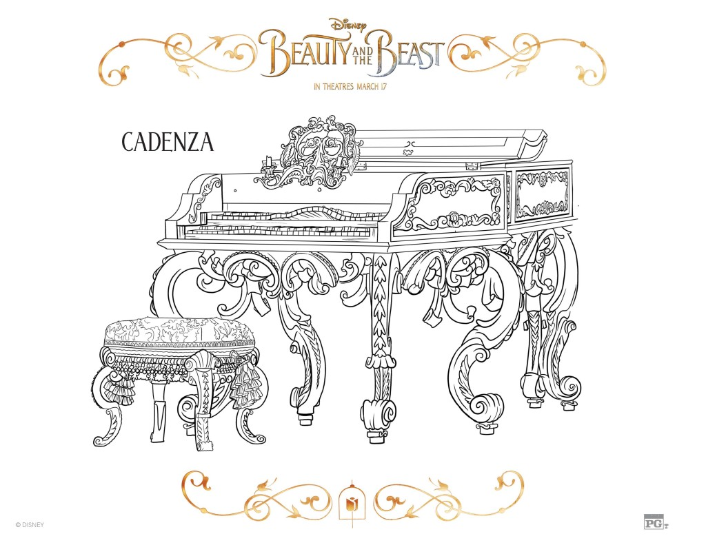 Beauty And The Beast Piano Coloring Pages