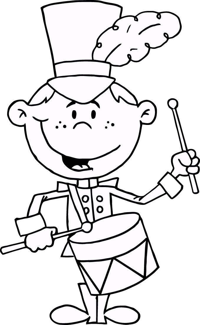 Cartoon Band Drummer Coloring Pages