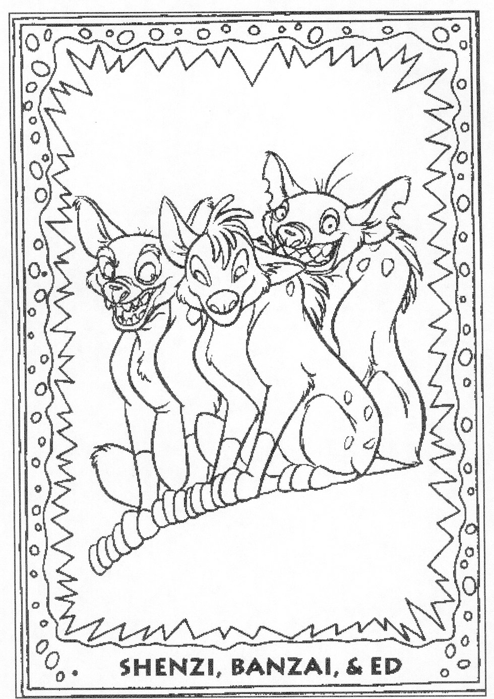 Cartoon Hyenas Coloring Page