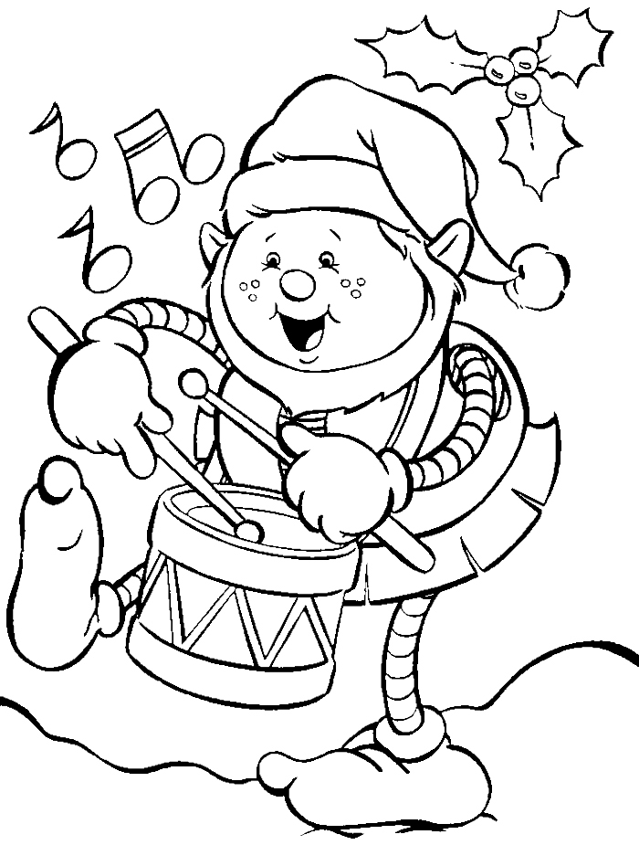 Christmas Elf On Drum Coloring Pages