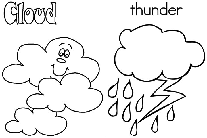 Cloud And Thunder Weather Coloring Page