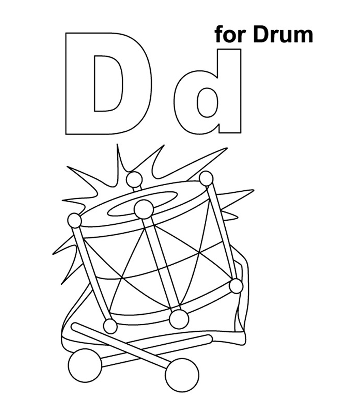 D For Drum Coloring Pages