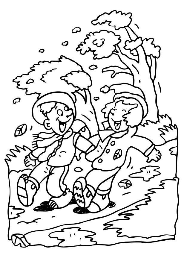 Friends In Windy Weather Coloring Page