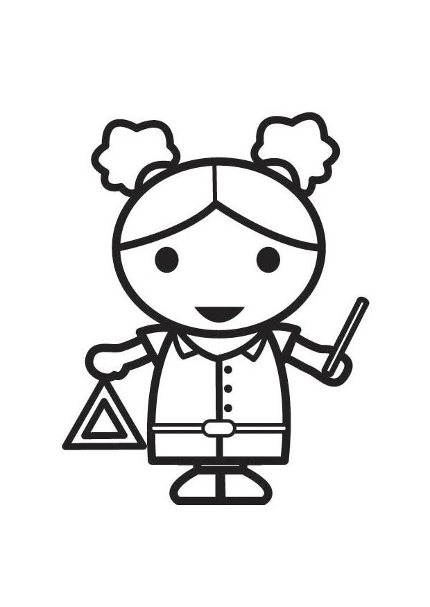 Girl Playing The Triangle Coloring Page