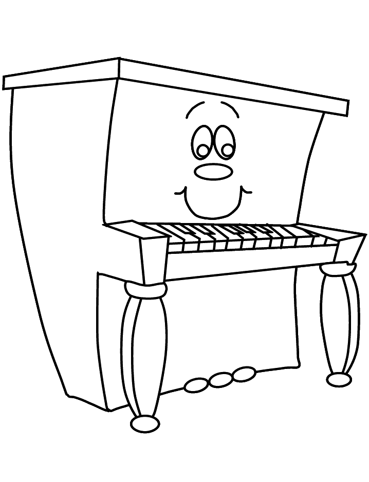 Happy Piano Coloring Pages