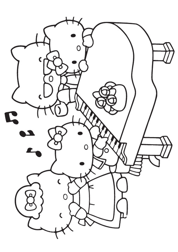 Hello Kitty Piano Coloring Pages
