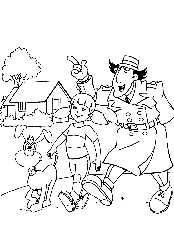 Inspector Gadget Penny And Brain Coloring Page