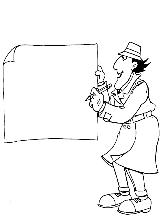 Inspector Gadget Writing Sign Coloring Page