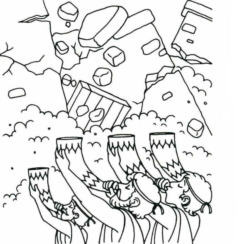 Joshua Walls Coming Down Bible Coloring Page