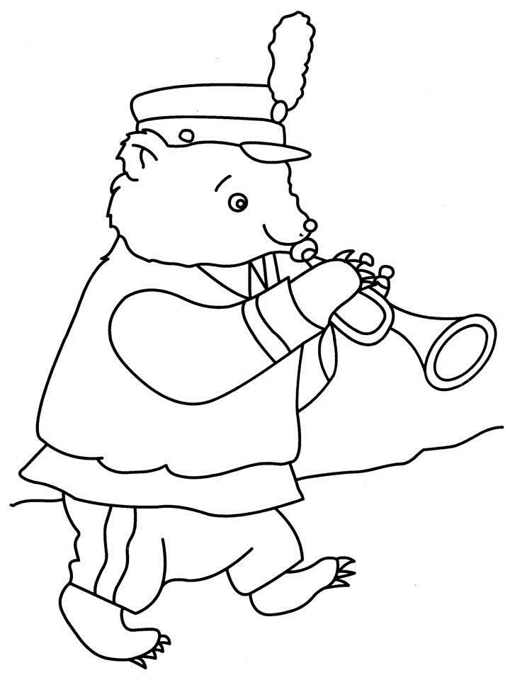 Musical Instruments Marching Bear And Horn Coloring Page