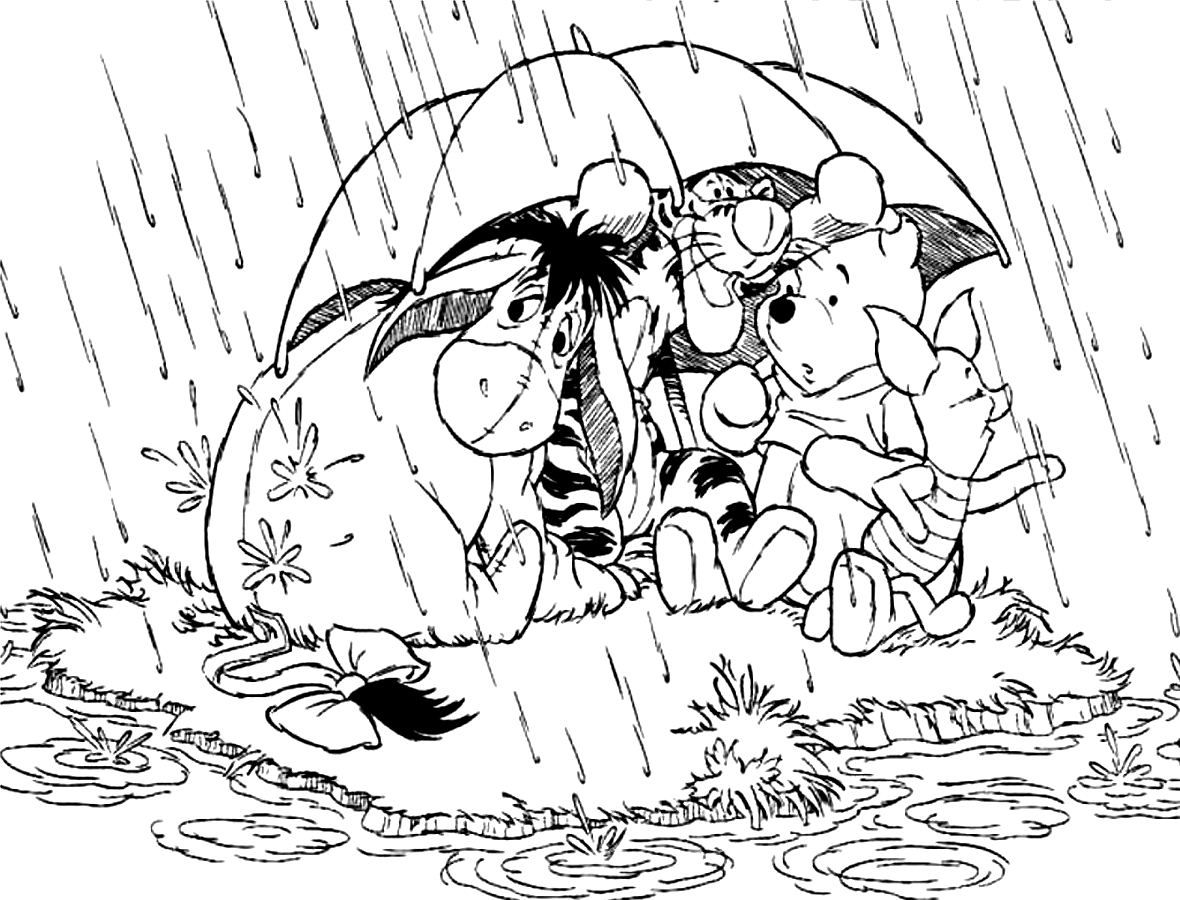 Pooh Characters Under Umbrella Coloring Page