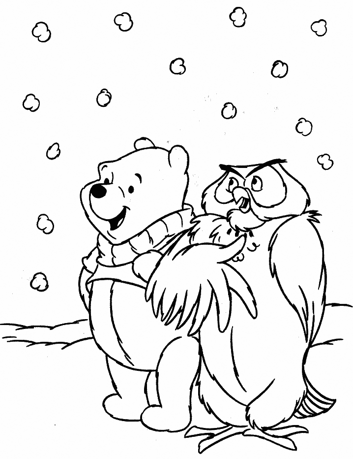 Pooh In Snowy Weather Coloring Page