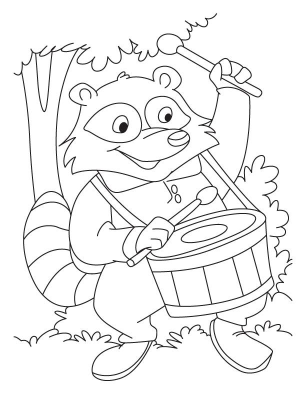 Raccoon Drummer Coloring Page