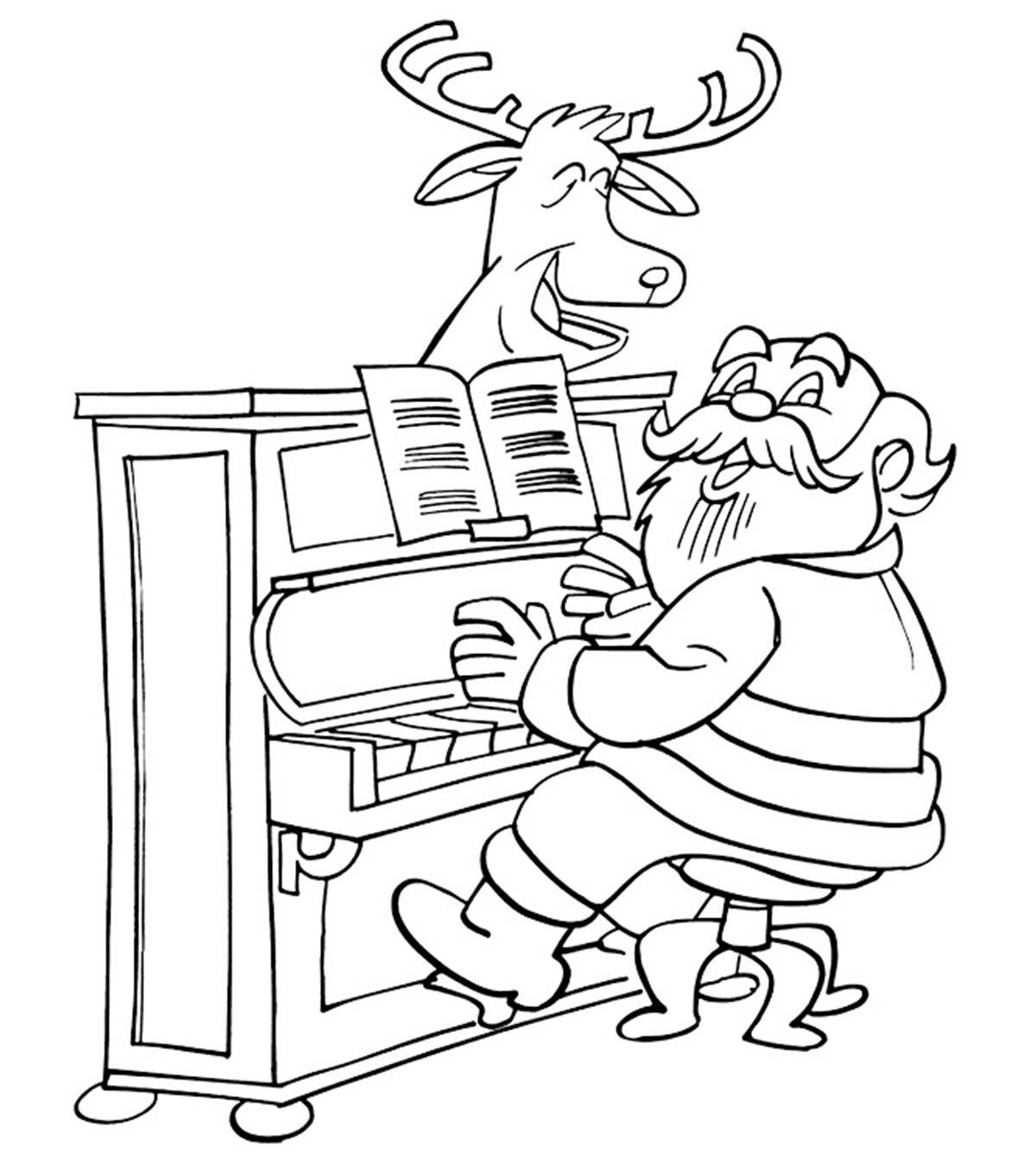Santa Playing Piano Coloring Page