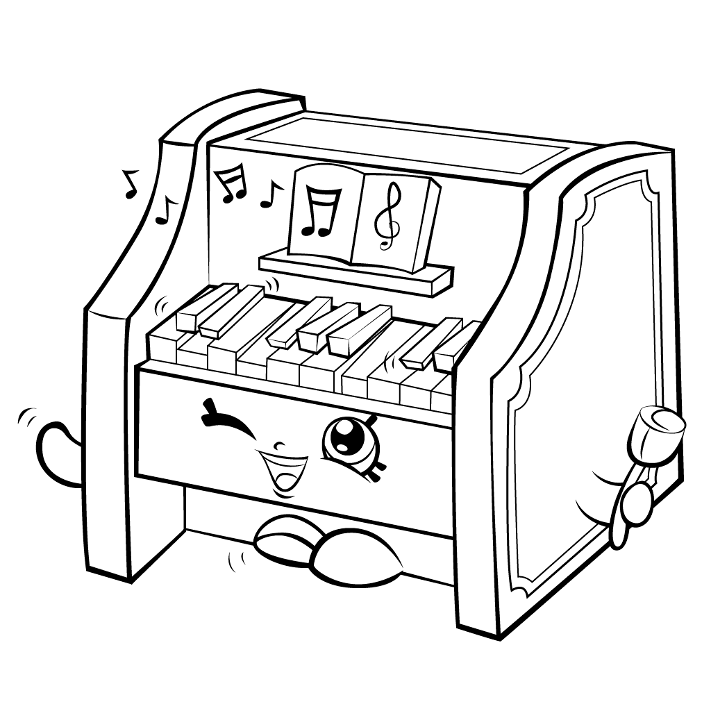 Shopkins Piano Coloring Pages