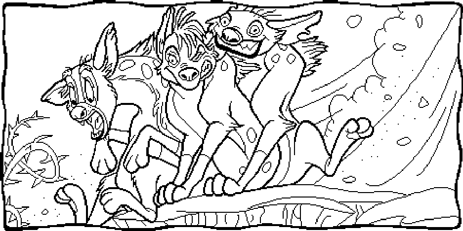 Three Hyenas Coloring Pages