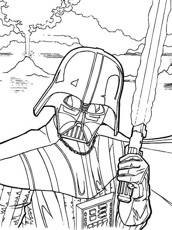 Vader Lightsaber Coloring Page