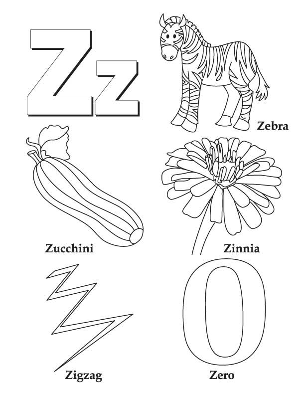 Z Words Coloring Sheet