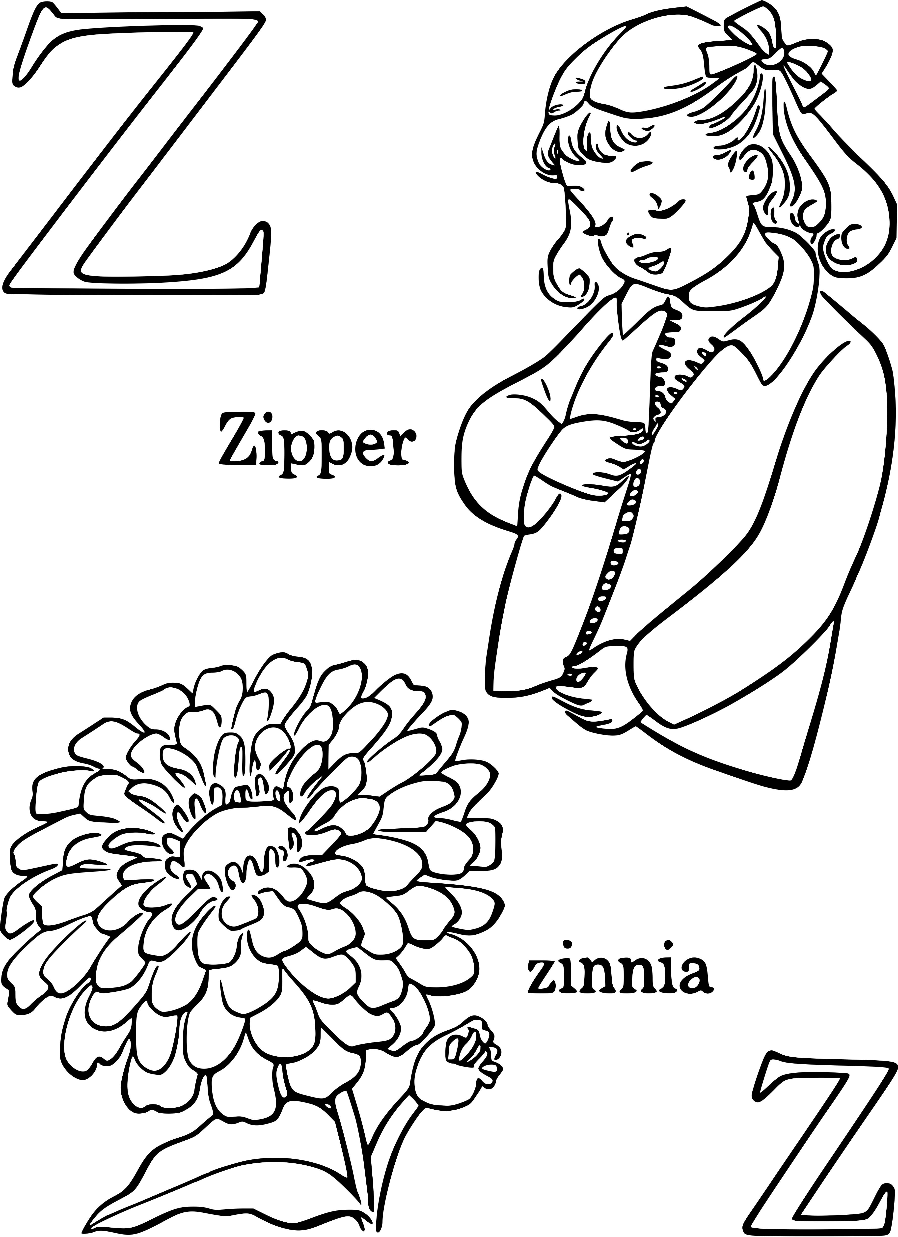 Z For Zinnia And Zipper Coloring Page