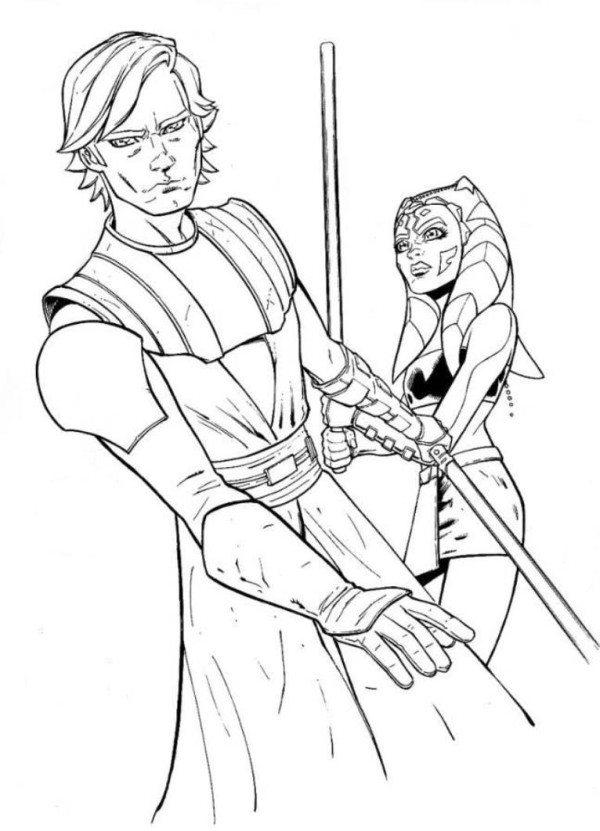 Anakin And Ahsoka Coloring Page